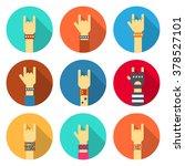 set of rock hands icons. flat... | Shutterstock .eps vector #378527101