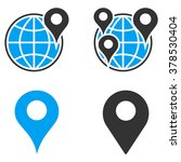 gps map markers vector icons.... | Shutterstock .eps vector #378530404
