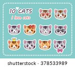10 Cats. Set Cute Cat. Face Of...