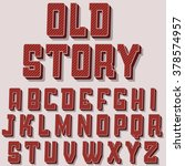 vintage font alphabet vector... | Shutterstock .eps vector #378574957
