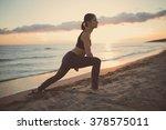 runner woman doing stretching... | Shutterstock . vector #378575011
