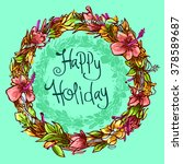 happy holiday with ornamental... | Shutterstock .eps vector #378589687
