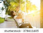 mother and son having fun at... | Shutterstock . vector #378611605