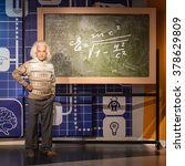 Small photo of BANGKOK - JAN 29: A waxwork of Albert Einstein on display at Madame Tussauds on January 29, 2016 in Bangkok, Thailand. Madame Tussauds' newest branch hosts waxworks of numerous stars and celebrities