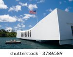 U.S.S. Arizona Memorial in Pearl Harbor. - stock photo