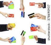 Collage Of Hands Holding Credit ...