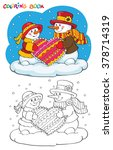 coloring book or page. two cute ... | Shutterstock .eps vector #378714319