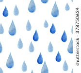 watercolor rain drops seamless... | Shutterstock . vector #378750634