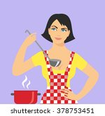 illustration of woman in an... | Shutterstock .eps vector #378753451
