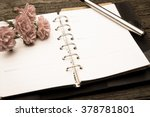 diary note with rose on old... | Shutterstock . vector #378781801
