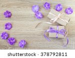 Two Gift Boxes  Purple Flowers...