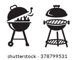 vector black bbq grill icons on ...
