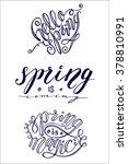 set of 3 brush lettering spring ... | Shutterstock . vector #378810991