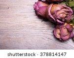 dead roses on vintage wooden... | Shutterstock . vector #378814147