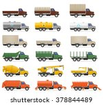 set icons trucks semi trailer... | Shutterstock .eps vector #378844489