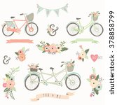 vintage hand drawn floral bike | Shutterstock .eps vector #378858799