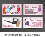 business cards in watercolor... | Shutterstock .eps vector #378875089