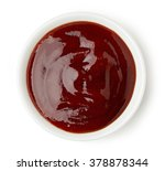 bowl of barbecue sauce on white ... | Shutterstock . vector #378878344