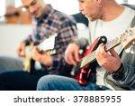 guitar lesson  focus on hand   Shutterstock . vector #378885955