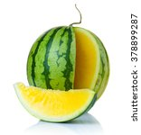 ripe watermelon with yellow... | Shutterstock . vector #378899287