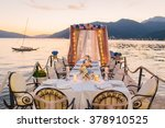 wedding table on the shore | Shutterstock . vector #378910525