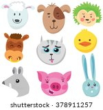 set of funny animals. drawn by... | Shutterstock .eps vector #378911257