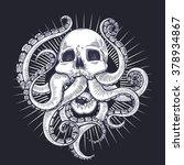 vector black and white skull... | Shutterstock .eps vector #378934867