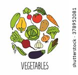 set of fresh healthy vegetables ... | Shutterstock .eps vector #378952081