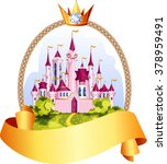 princess pink castle frame with ... | Shutterstock .eps vector #378959491