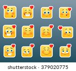 set of 12 love smile stickers | Shutterstock .eps vector #379020775