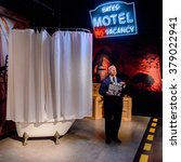 Small photo of SAN FRANCISCO, USA - OCT 5, 2015: Alfred Hitchcock Motel Bates scene at the Madame Tussauds museum in SF. It was open on June 26, 2014