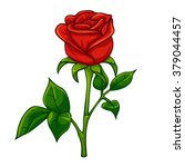 red rose cartoon style  vector... | Shutterstock .eps vector #379044457