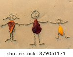 family  three people drawn on... | Shutterstock . vector #379051171