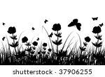 grass silhouettes background. | Shutterstock . vector #37906255