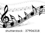 musical notes staff background... | Shutterstock . vector #37906318