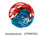 red and blue ribbons on white | Shutterstock . vector #37909591