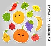 vector set of flat cartoon... | Shutterstock .eps vector #379101625