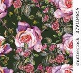 violet roses pattern watercolor ... | Shutterstock . vector #379104859