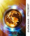 Planet Earth In Light Circle ...