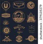 vintage element badge label set ... | Shutterstock .eps vector #379135279
