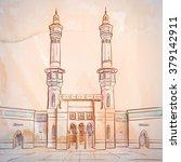 mosque sketch   masjid al haram ... | Shutterstock .eps vector #379142911