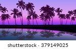 tropical seashore night palm... | Shutterstock .eps vector #379149025