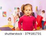 portrait of nice little girl...   Shutterstock . vector #379181731
