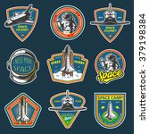 set of vintage space and... | Shutterstock . vector #379198384