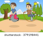 boy playing bouncing ball in... | Shutterstock .eps vector #379198441