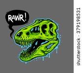 Illustration Of Dinosaur Skull...