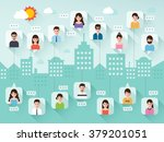 group of connecting people via... | Shutterstock .eps vector #379201051