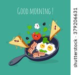breakfast poster. fried eggs... | Shutterstock .eps vector #379206631