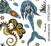 beautiful mermaid with tail in... | Shutterstock . vector #379207069