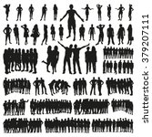 big set of people silhouettes | Shutterstock .eps vector #379207111